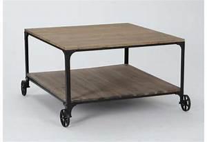 Table Basse Industrielle Carrée : table basse carr e a roulette le bois chez vous ~ Teatrodelosmanantiales.com Idées de Décoration