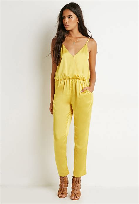 womens yellow jumpsuit forever 21 surplice cami jumpsuit in yellow lyst
