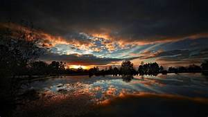 sunset, , nature, , lake, , trees, , clouds, , hdr, , reflection, wallpapers, hd, , , , desktop, and, mobile, backgrounds