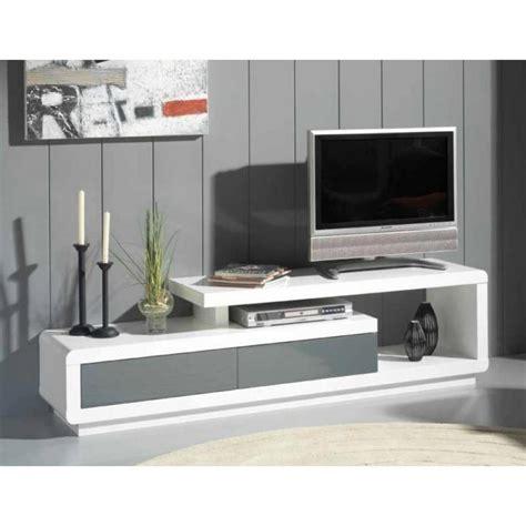 Meuble De Tele Meubles Tv Meubles Et Rangements Meuble Tv Seville Blanc 2 Tiroirs Gris Anthracite Inside75