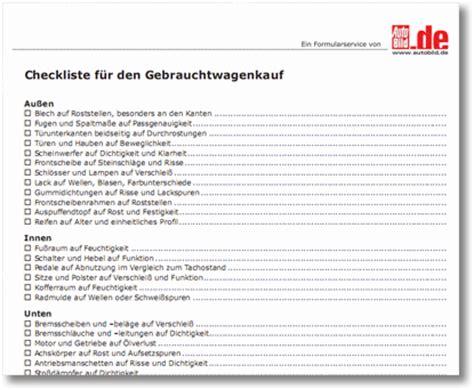 urlaubs checkliste kostenlos gebrauchtwagen kaufen checkliste kostenlos