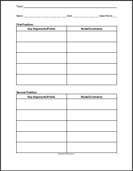 Printable Debate Notes Worksheet  Student Handouts
