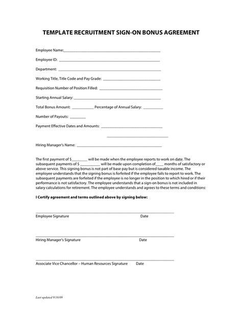 template recruitment sign  bonus agreement  word