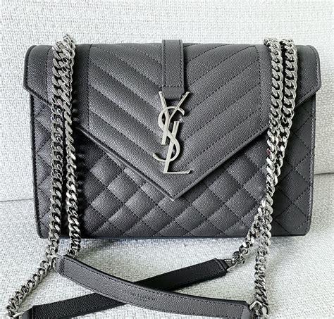 ysl saint laurent dark grey leather medium envelope sling