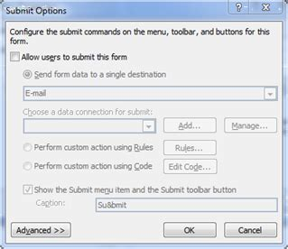 create a submit button in an infopath form to email