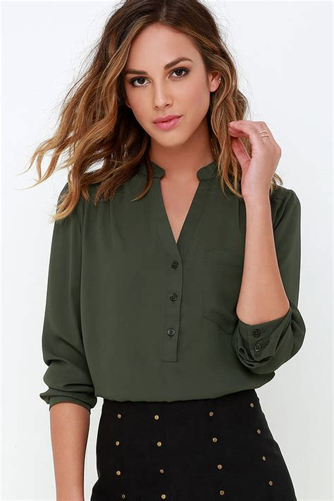 olive green blouse olive green top sleeve top olive green