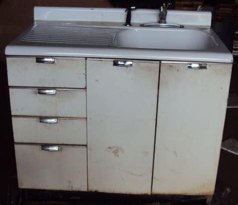 Vintage Kitchen Sink  Cabinet Enamel Steel W Drawers  Ebay