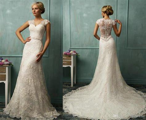 Cheap Sheer Straps Lace Cap Sleeve Wedding Dresses