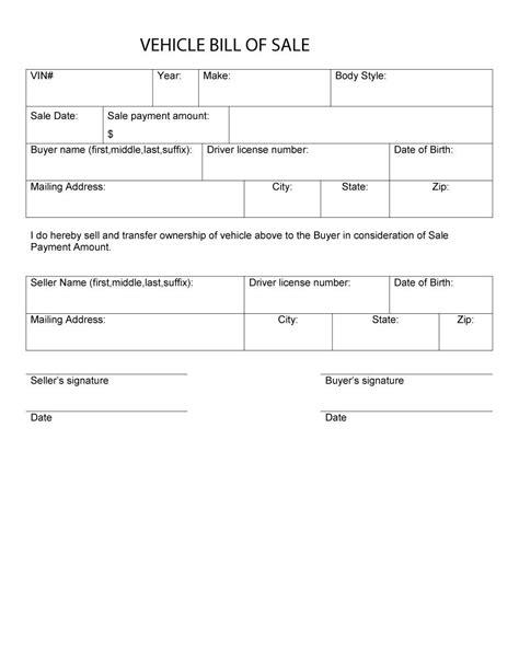 bill template 46 fee printable bill of sale templates car boat gun vehicle free template downloads