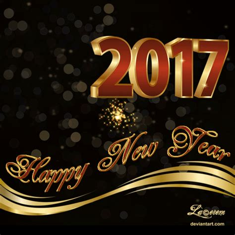 happy new year 2017 greeting card animated by lacerem on