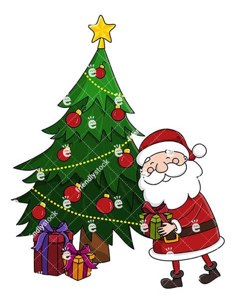 photo of santa claus and christmas tree santa claus leaving a present a tree clipart friendlystock