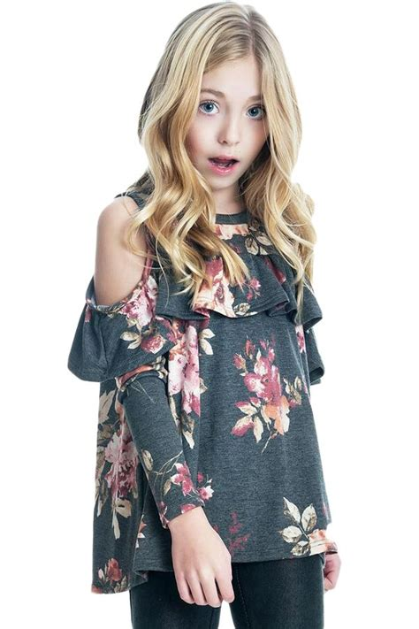 Black Floral Cold Shoulder Ruffles Girl Top | Ruffle girl ...