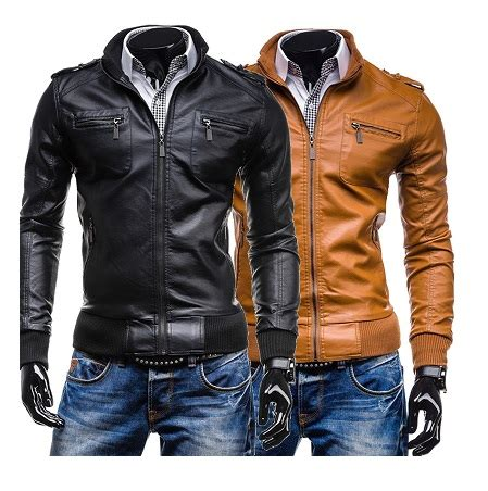 c19 baju jaket kulit motosikal pu leather multi poket