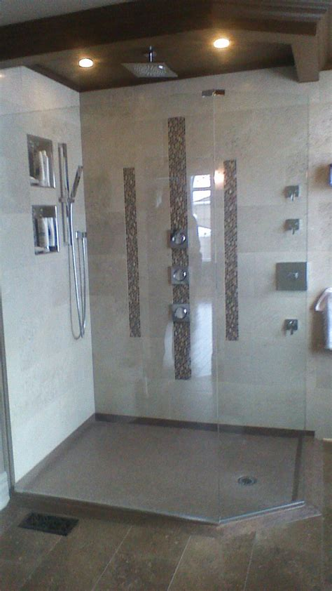 custom shower base out of cultured granite low threshold