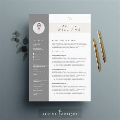 3 Column Resume Template Word by Resume Templates Picmia