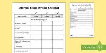 yy informal letter writing checklist requests ks