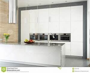 cuisine blanche elegante avec le mur en pierre de With cuisine avec mur en pierre