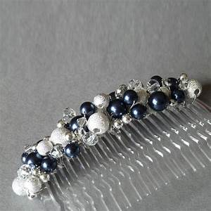 Navy Blue Stardust Hair Comb Anna King Jewellery