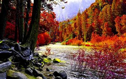 Autumn Background River Awesome Nature Landscape Fall