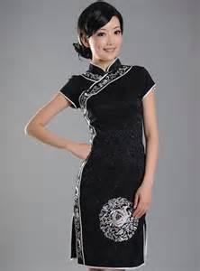 black short cheongsam qipao chinese dress world