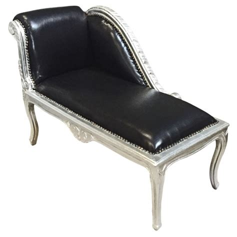 chaise louis 15 louis xv chaise longue black leatherette and silver wood