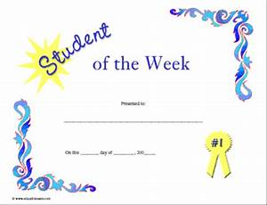 certificates for teachers student of the week 4 With student of the week certificate template