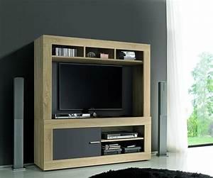 Meuble Tv Complet : meuble tv complet aura chene samoa gris mat ~ Teatrodelosmanantiales.com Idées de Décoration
