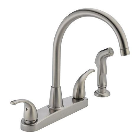 delta kitchen faucets delta faucet p299578lf choice 2 handle side sprayer