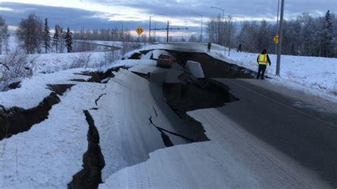 magnitude  earthquake shakes alaska damaging roads