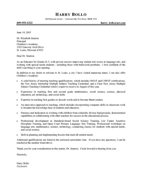 Cover Letter For Teachers Application by Professional Cover Letter Landing A Teaching