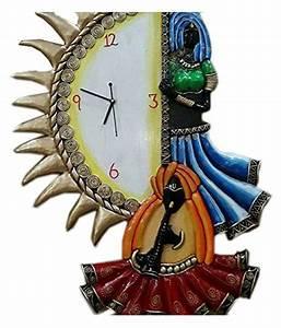 Unique, Indian, Crafts, Assymetric, Analog, Wall, Clock, D, U00e9cor, Watch, 30, X, 55, Cm, Buy, Unique, Indian