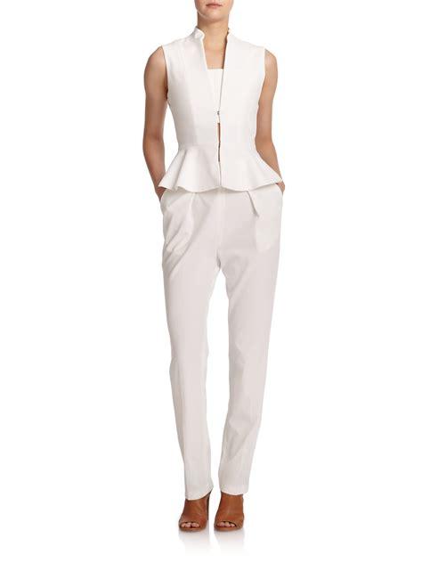 white peplum jumpsuit erica peplum jumpsuit in white white