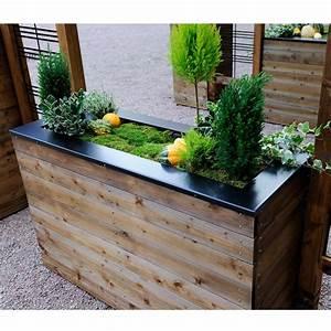Fleur En Bois : bac fleurs muret bois trait autoclave acier l120 h76 cm ~ Dallasstarsshop.com Idées de Décoration