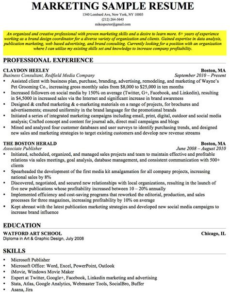 resume objective retail