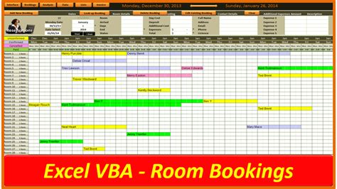 Hotel Reservation System Template by Excel Room Booking System Pc Learning