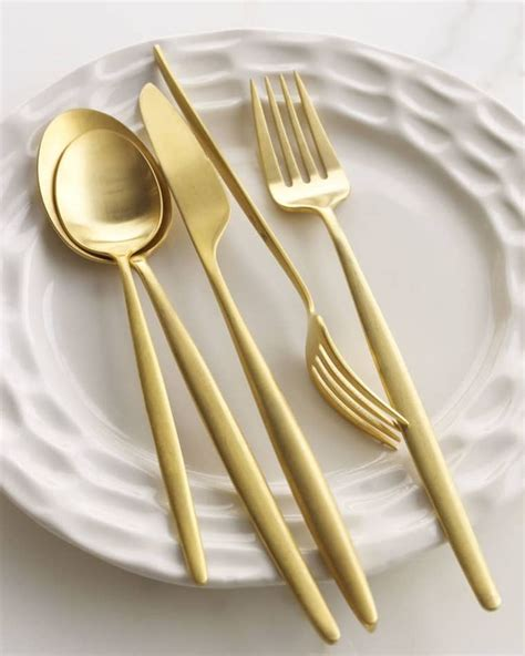 flatware copper modern place horchow furstenberg diane setting night cutlery five piece