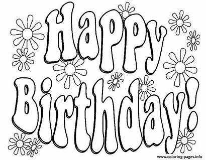 Birthday Coloring Text Flowers Happy Pages Printable