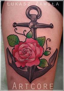 anchor rose tattoo- minus the rose> matches mine and ...