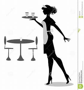 Waitress silhouette stock vector. Illustration of coffee ...