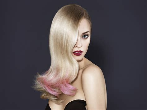 Long Light Blonde Hair With Pink Coloring In The Tips