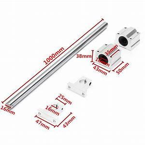 New Machifit 16mm X 1000mm Linear Rail Shaft With Bearing