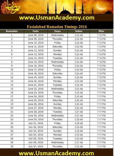 faisalabad ramadan timings calendar faisalabad ramazan