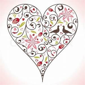 Herz Mit Blumen : valentines day herz mit blumen und v geln element f r design vektor illustration stock ~ Frokenaadalensverden.com Haus und Dekorationen