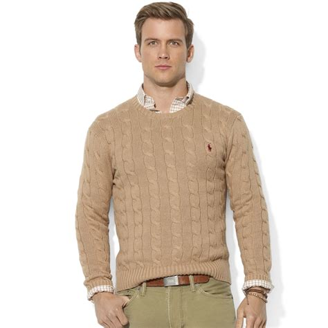 ralph polo sweaters ralph roving crew neck cable cotton sweater in