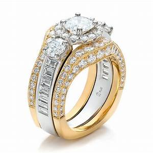 Estate two tone wedding and engagement ring set 100619 for Wedding bands and engagement ring sets