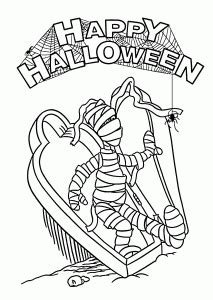 Halloween Mummy and spider coloring page for kids