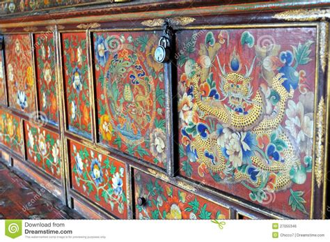 colorful painted furniture  buddhist monastery stock