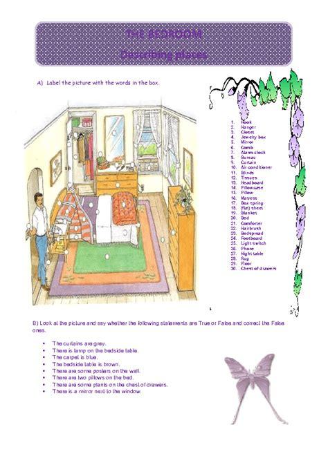 bedroom worksheet