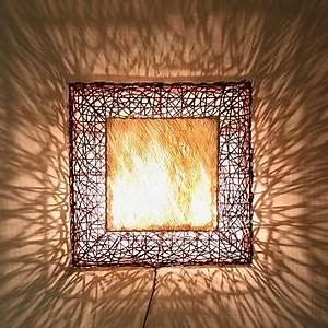 Wandleuchte Selber Bauen : wandleuchte aus rattangeflecht und textil 60x60cm oder 80x80cm wohnlicht ~ Markanthonyermac.com Haus und Dekorationen