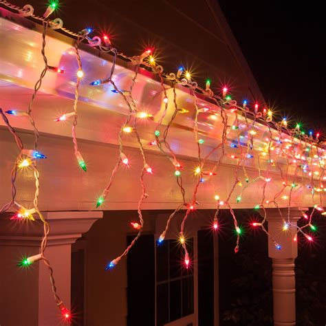 multi color icicle lights icicle light 150 multi green pink blue